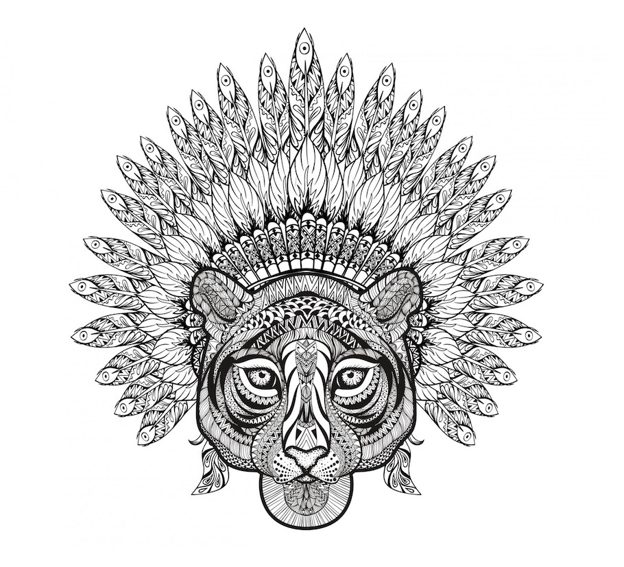 ancient tiger doodle - Ancient Tiger Doodle