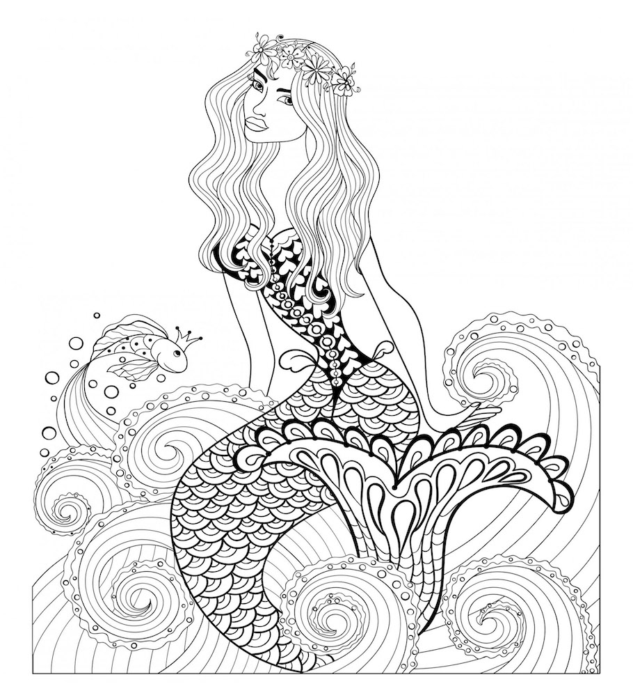 beautiful mermaid doodle - Beautiful Mermaid Doodle