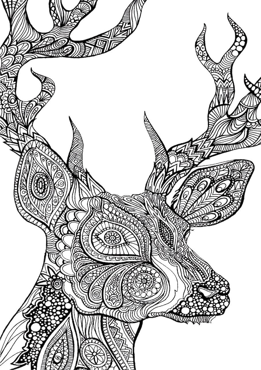 deer head doodle - Deer Head Doodle