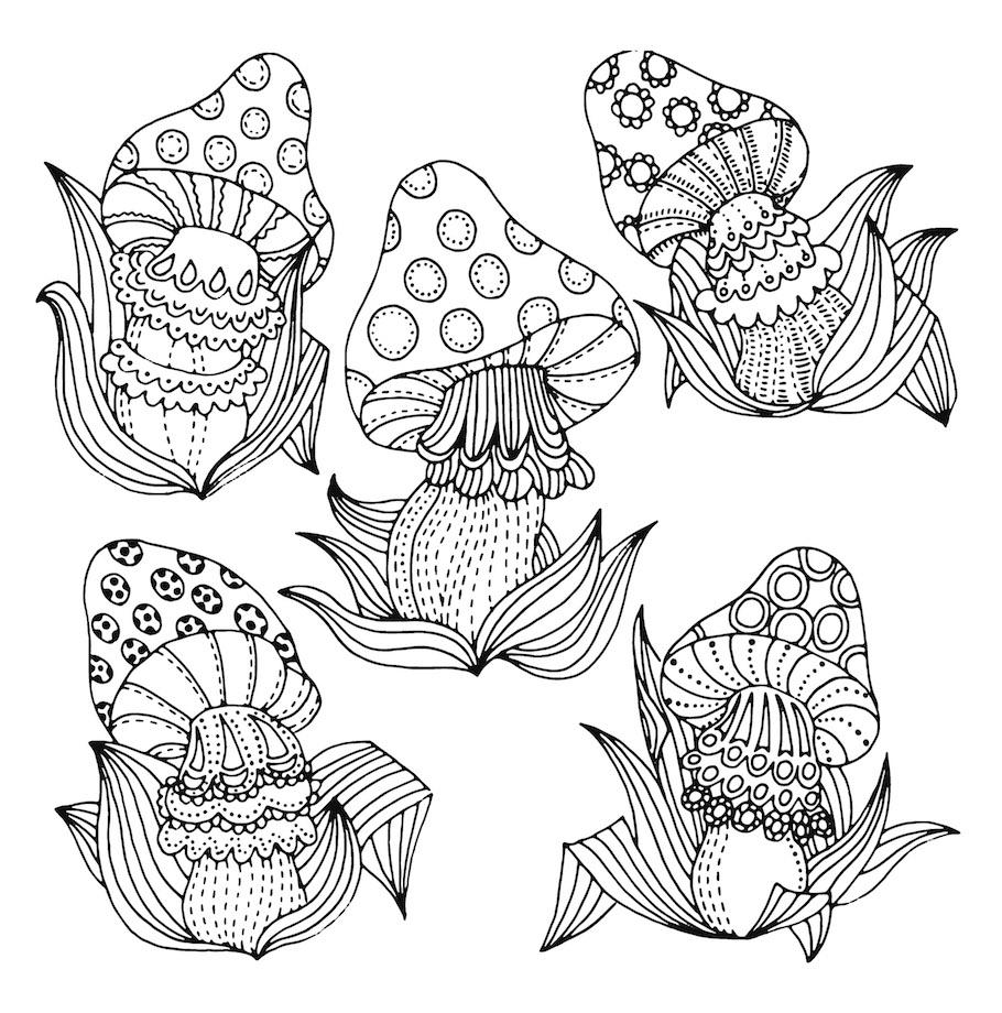 fantasy mushrooms doodle - Fantasy Mushrooms Doodle