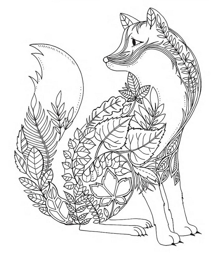 floral fox doodle - Floral Fox Doodle