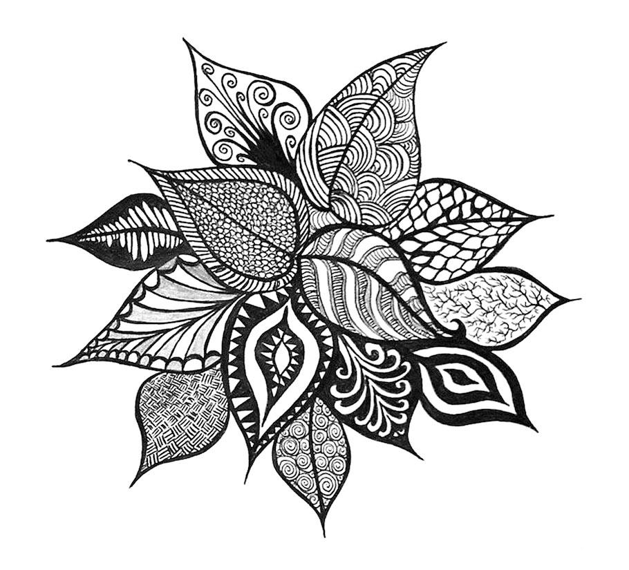 floral leaves doodle - Floral Leaves Doodle