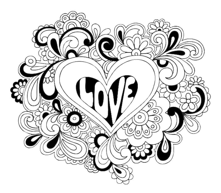 floral love symbol doodle - Floral Love Symbol Doodle