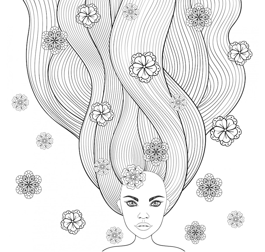 girl beautiful hair doodle - Girl Beautiful Hair Doodle