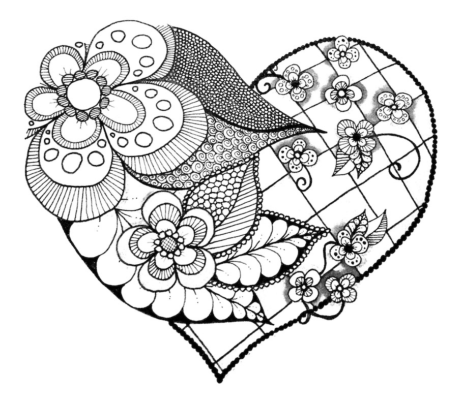 heart with flowers doodle - Heart with Flowers Doodle