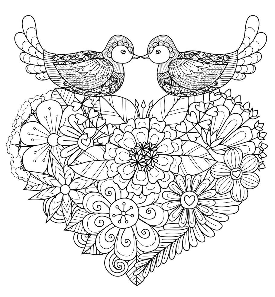 love heart birds doodle - Love Heart Birds Doodle