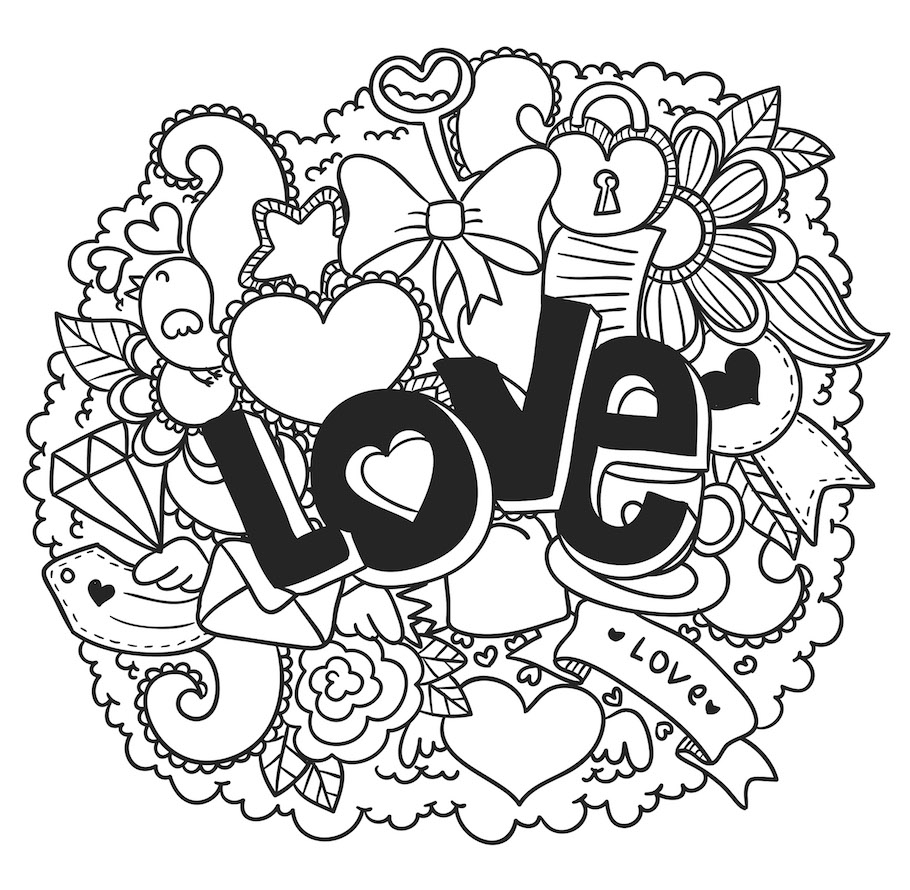 love text heart doodle - Love Text Heart Doodle