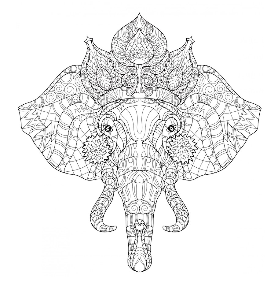 royal elephant doodle - Royal Elephant Doodle