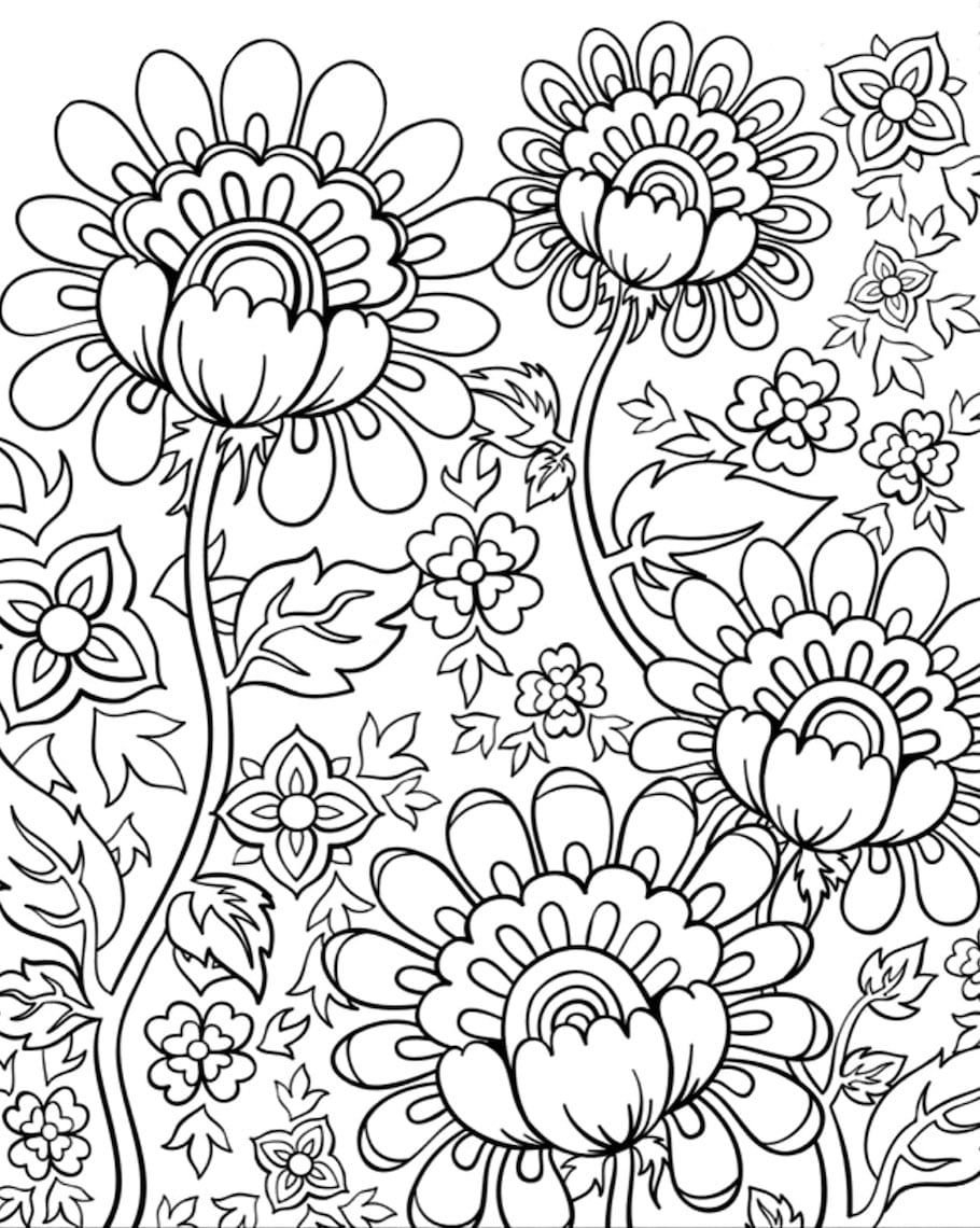 Flower doodles doodle coloring pages for Flower adult coloring pages
