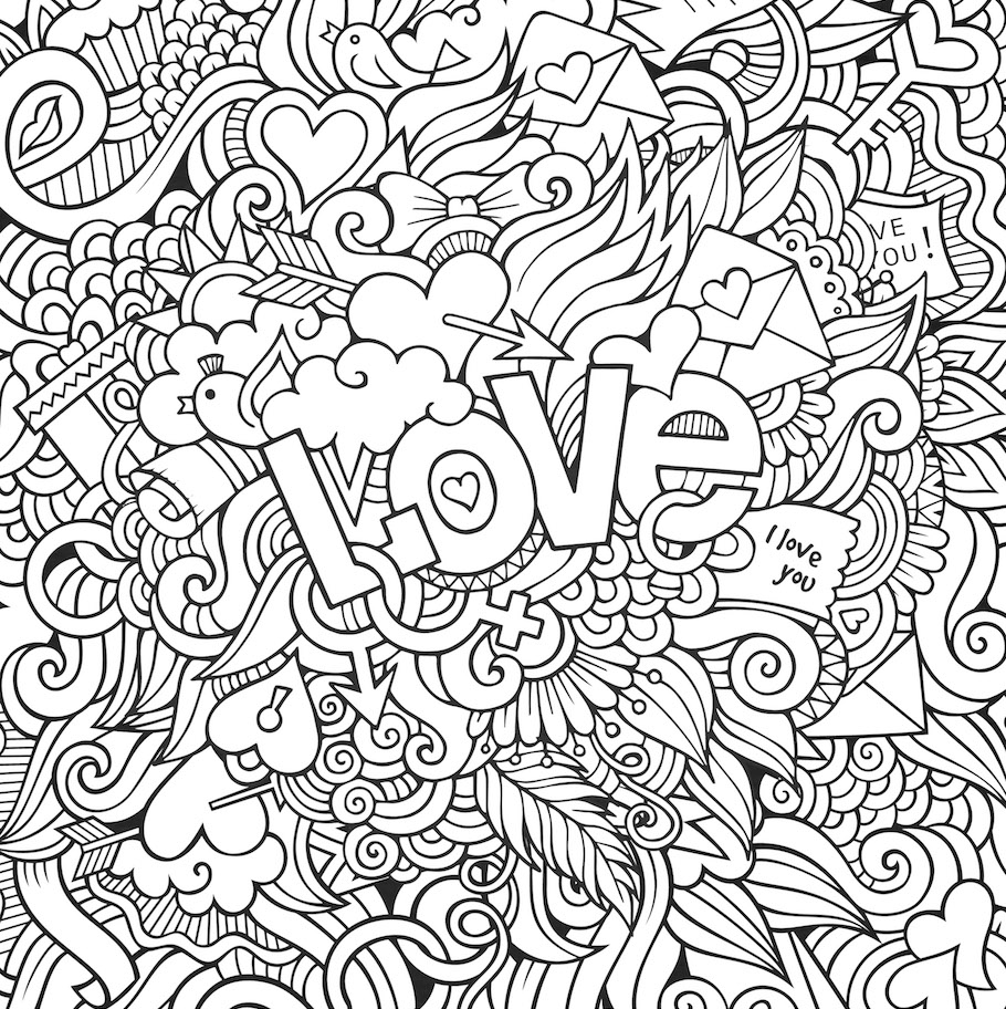 The gallery for love doodles art for Doodles coloring pages