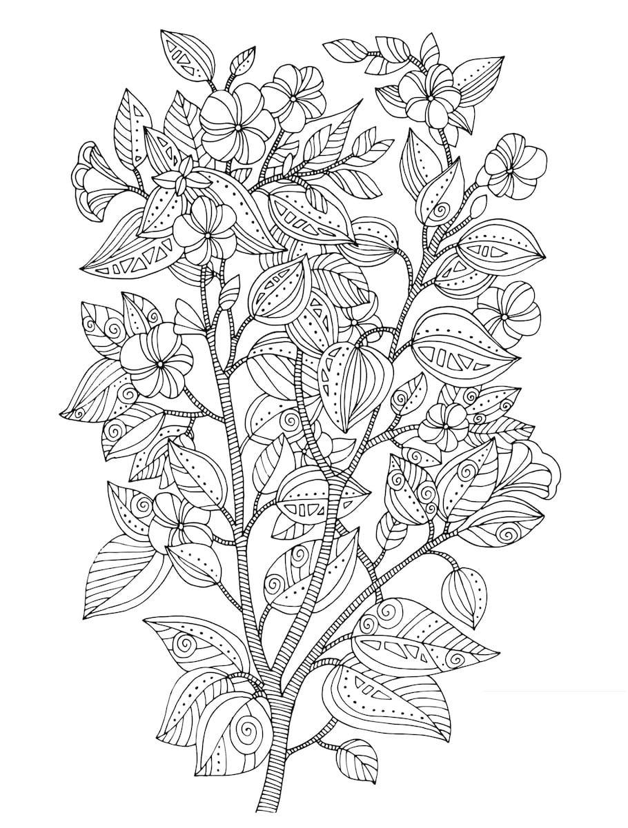 twig with flowers doodle - Twig with Flowers Doodle