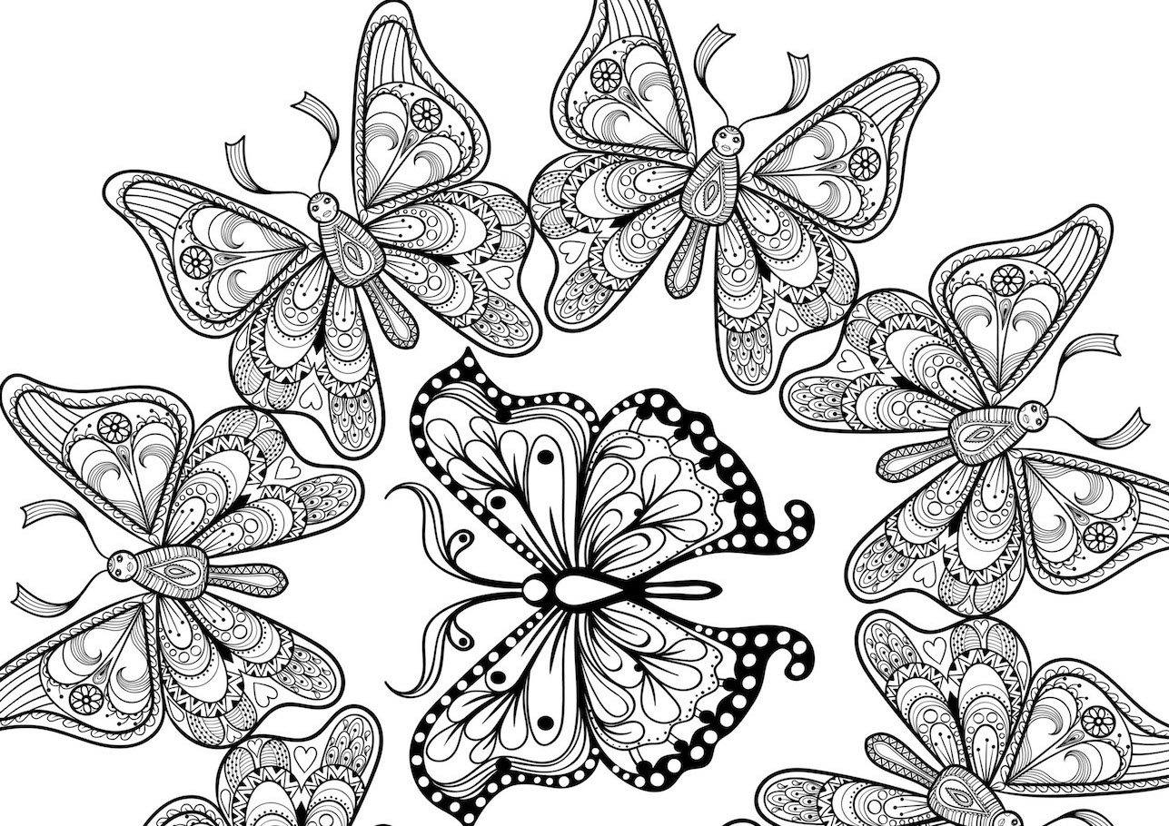 many butterflies doodle - Circle of Butterflies